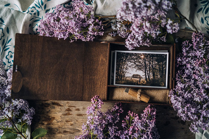 Wooden boxes for photos